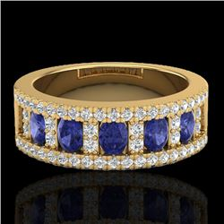 1.75 CTW Tanzanite & Micro Pave VS/SI Diamond Inspired Ring 10K Yellow Gold - REF-64K4W - 20832