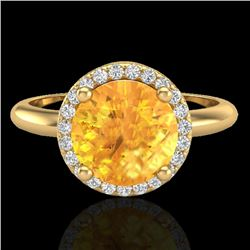 2 CTW Citrine & Micro VS/SI Diamond Ring Designer Halo 18K Yellow Gold - REF-58N4Y - 23208