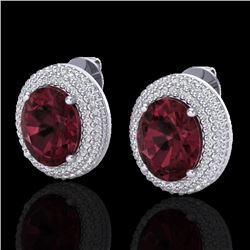 9 CTW Garnet & Micro Pave VS/SI Diamond Earrings 18K White Gold - REF-153N5Y - 20226