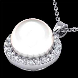 0.25 CTW Micro Halo VS/SI Diamond & White Pearl Necklace 18K White Gold - REF-40W9F - 21578