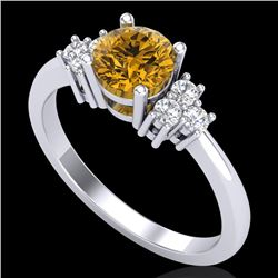 1 CTW Intense Yellow Diamond Solitaire Engagement Classic Ring 18K White Gold - REF-130T9M - 37595