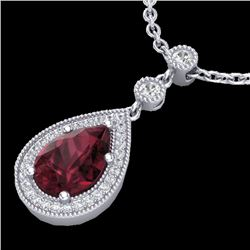 2.25 CTW Garnet & Micro VS/SI Diamond Necklace Designer 18K White Gold - REF-45F5N - 23135
