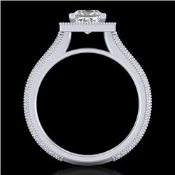 2 CTW Princess VS/SI Diamond Solitaire Micro Pave Ring 18K White Gold - REF-472A8X - 37181
