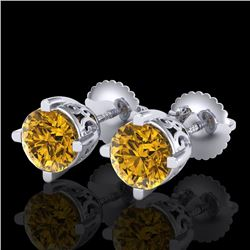 1.5 CTW Intense Fancy Yellow Diamond Art Deco Stud Earrings 18K White Gold - REF-263N6Y - 38071