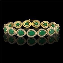 30.06 CTW Emerald & Diamond Halo Bracelet 10K Yellow Gold - REF-393W3F - 41236