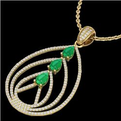 2 CTW Emerald & Micro Pave VS/SI Diamond Designer Necklace 18K Yellow Gold - REF-133K3W - 22468