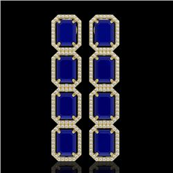 20.59 CTW Sapphire & Diamond Halo Earrings 10K Yellow Gold - REF-213H8A - 41578