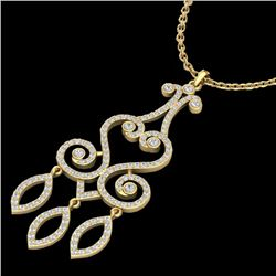 1.60 CTW VS/SI Diamond Micro Pave Designer Necklace 14K Yellow Gold - REF-138K5W - 22421