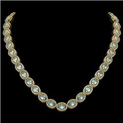 41.88 CTW Aquamarine & Diamond Halo Necklace 10K Yellow Gold - REF-722F4N - 40579