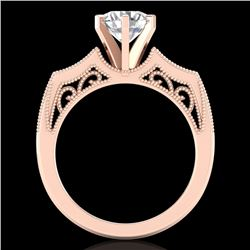 1.51 CTW VS/SI Diamond Solitaire Art Deco Ring 18K Rose Gold - REF-442M5H - 37077