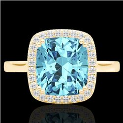 3.50 CTW Sky Blue Topaz & Micro VS/SI Diamond Halo Solitaire Ring 18K Yellow Gold - REF-48Y9K - 2285