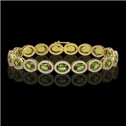 13.87 CTW Tourmaline & Diamond Halo Bracelet 10K Yellow Gold - REF-271Y6K - 40474