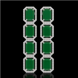 20.59 CTW Emerald & Diamond Halo Earrings 10K White Gold - REF-248X2T - 41570