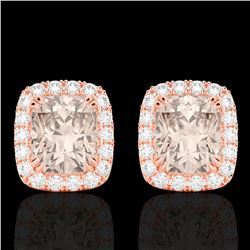2.50 CTW Morganite & Micro Pave VS/SI Diamond Halo Earrings 10K Rose Gold - REF-57W3F - 22867
