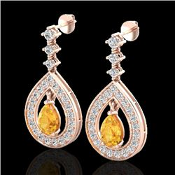 2.25 CTW Citrine & Micro Pave VS/SI Diamond Earrings Designer 14K Rose Gold - REF-99M8H - 23149