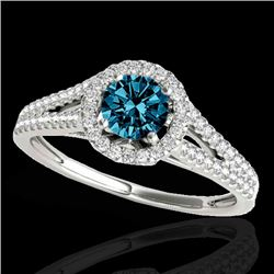 1.3 CTW Si Certified Fancy Blue Diamond Solitaire Halo Ring 10K White Gold - REF-162H8A - 33887