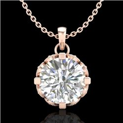1.5 CTW VS/SI Diamond Solitaire Art Deco Stud Necklace 18K Rose Gold - REF-363Y5K - 36846