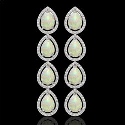 9.12 CTW Opal & Diamond Halo Earrings 10K White Gold - REF-174H5A - 41297