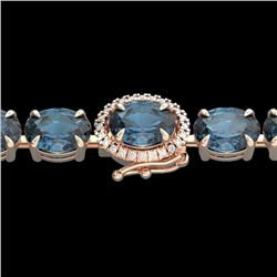 36 CTW London Blue Topaz & VS/SI Diamond Tennis Micro Halo Bracelet 14K Rose Gold - REF-128A9X - 234
