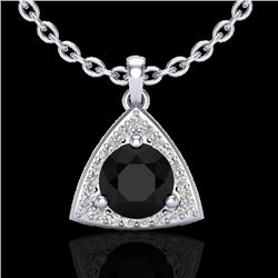 1.75 CTW Micro Pave Halo VS/SI Diamond Necklace 18K White Gold - REF-64M5H - 20519