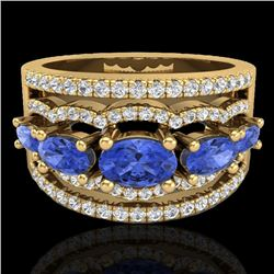 2.25 CTW Tanzanite & Micro Pave VS/SI Diamond Designer Ring 10K Yellow Gold - REF-80N2Y - 20808