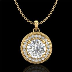 1.25 CTW VS/SI Diamond Solitaire Art Deco Necklace 18K Yellow Gold - REF-218K2W - 37144