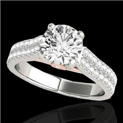1.61 CTW H-SI/I Certified Diamond Pave Ring 10K White & Rose Gold - REF-180T2M - 35458