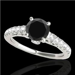 1.5 CTW Certified VS Black Diamond Solitaire Ring 10K White Gold - REF-68H9A - 34989