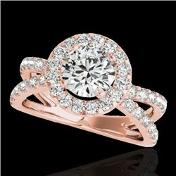 2.01 CTW H-SI/I Certified Diamond Solitaire Halo Ring 10K Rose Gold - REF-209K3W - 34026