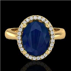 3 CTW Sapphire And Micro Pave VS/SI Diamond Ring Halo 18K Yellow Gold - REF-60K2W - 21115