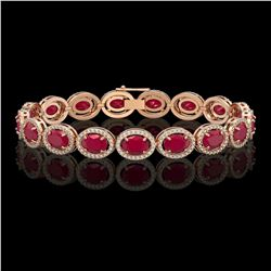 22.89 CTW Ruby & Diamond Halo Bracelet 10K Rose Gold - REF-291K5W - 40605