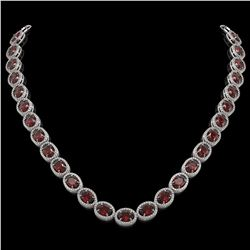 50.08 CTW Garnet & Diamond Halo Necklace 10K White Gold - REF-555K6W - 40598