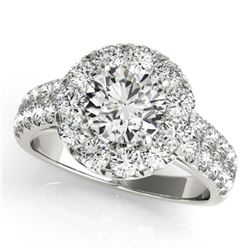1.75 CTW Certified VS/SI Diamond Solitaire Halo Ring 18K White Gold - REF-255A3X - 26437