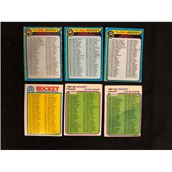 1979-82 O-PEE-CHEE NHL HOCKEY CHECKLISTS LOT
