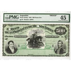 Banco De La Provincia De Buenos Aires, 1883 Unique Production Proof Model Banknote.