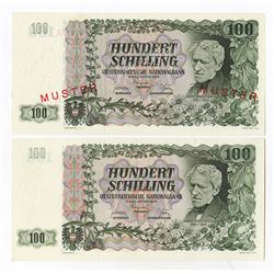 Austrian National Bank, 1954 Specimen Banknote & an additional Issued example.