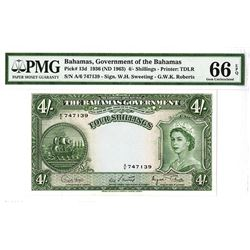 Bahamas Government, 1953 (ND 1963) 4/- Shillings High Grade Issued Note.
