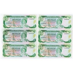 Monetary Authority of Belize, 1980 Banknote Quintet.