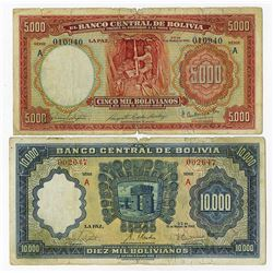 Banco Central De Bolivia, 1942 Issue Banknote Pair.