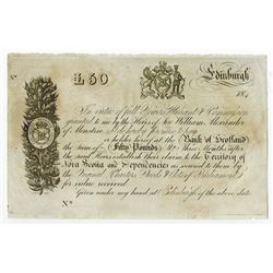 Bank of Scotland 184x ca.1840's Unissued Obsolete Banknote.