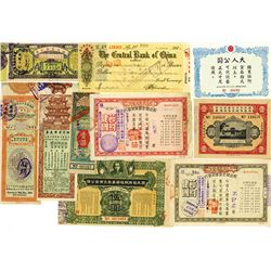 China Assortment of Checks, Lottery tickets, War Bonds & Miscellaneous fiscal items.
