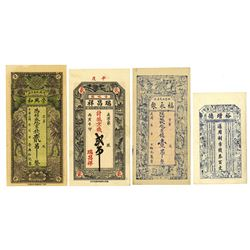 China Private & Local Banknote Quartet, ca. 1920-1940.