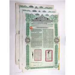 Imperial Chinese Government 5% Tientsin-Pukow Railway Supplementary Loan, 1911 Issued Trio of Bonds,
