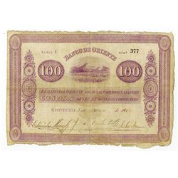 Banco de Oriente, 1887, Issued Note.