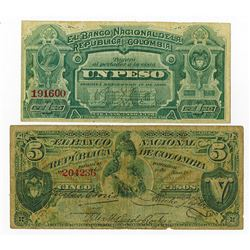 Banco Nacional de la Republica de Colombia, 1886 Issued Banknote Pair.
