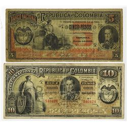 Banco Nacional de la Republica de Colombia 1895 Lot of 2 Notes