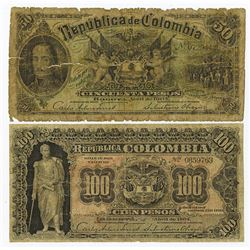 Republica Colombia, 1904 Issue Banknote Pair.