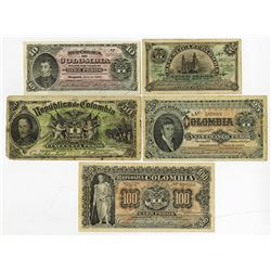 Republica de Colombia, 1904 Issue Banknote Quintet.