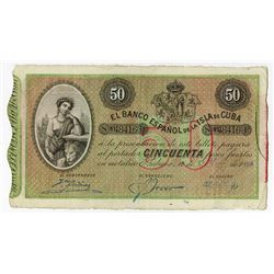 Banco Espania de la Isla de Cuba, 1896, Issued Note.