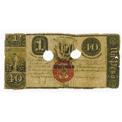 Republica Dominicana, 1848 (1853) Issued and Cancelled Banknote.